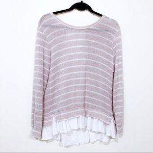 ANTHROPOLOGIE Clu Willoughby Sweater Ruffled Hem